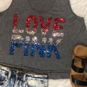 Victoria Secret Pink USA Sequin Tank Top 🇺🇸